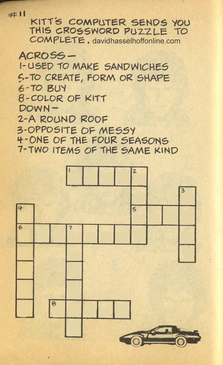 Crossword Puzzles | The Official David Hasselhoff Website
