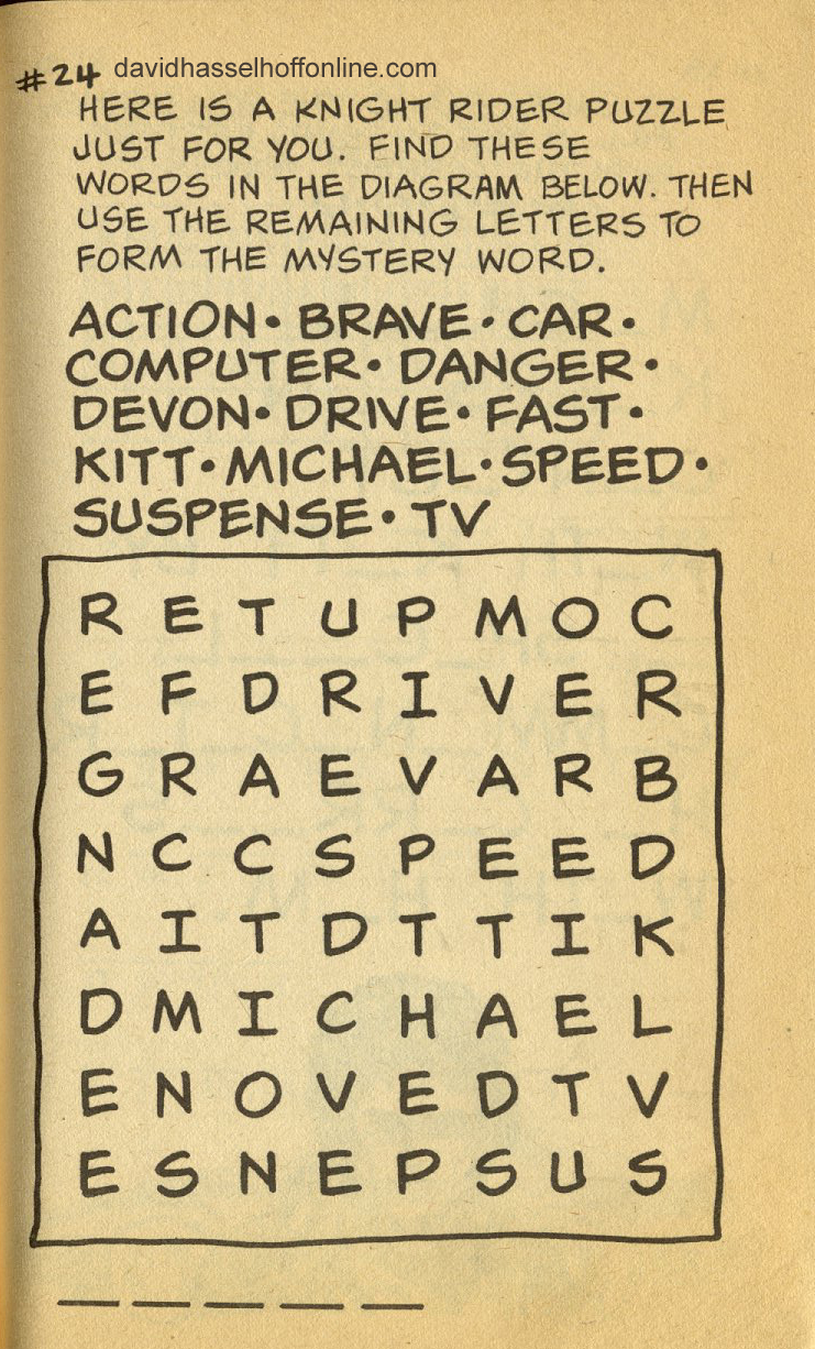word form knight Word Searches  The Official David Hasselhoff Website